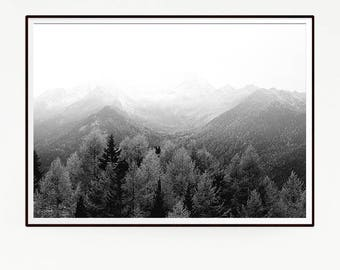 Printable Mountains Forest Wall Decor Nordic Art Print Poster Scandinavian Monochrome Black White Nature Wilderness Minimalist Snow 1040