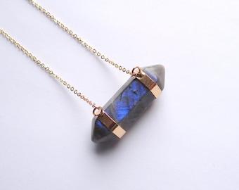 Labradorite Necklace Horizontal Crystal Necklace Horizontal Stone Necklace Labradorite Crystal Necklace Labradorite Jewelry Blue Labradorite