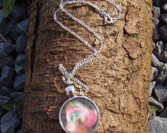 Pink Green Nebula Cabochon Charm Necklace
