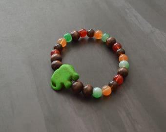 Colorful Beaded Stretch Bracelet, Elephant Stone Bracelet, Stretch Bracelet, Gift For Her, Christmas Gift, Beaded Bracelet, Bohemian, Yoga