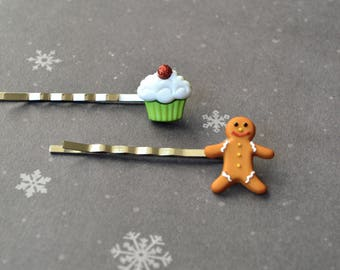 Hair Accessories. Bobby Pins. Christmas Bobby Pins. Gift For Christmas. Gift Under 15 Dollar. Gingerbread Bobby Pins. Cupcake Bobby Pins.