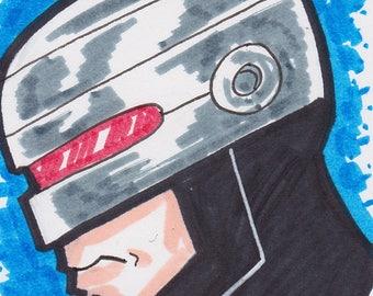 "Robocop  artist trading card ACEO 2 1/2"" x 3 1/2"""