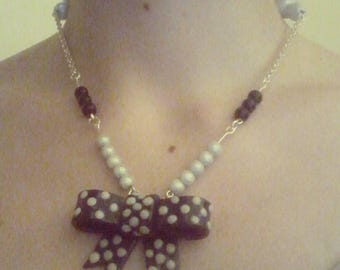 Blue with dots Bow Tie Necklace