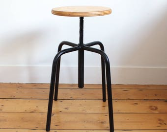 Vintage French industrial stool - swivel stool - office stool - seating - industrial seating - vintage stool