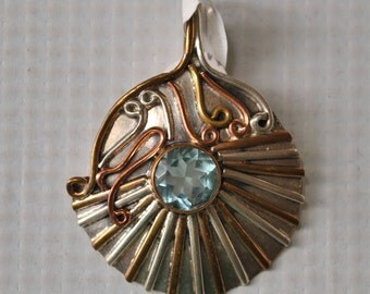Sterling Silver Swiss Blue Topaz Pendant #9778
