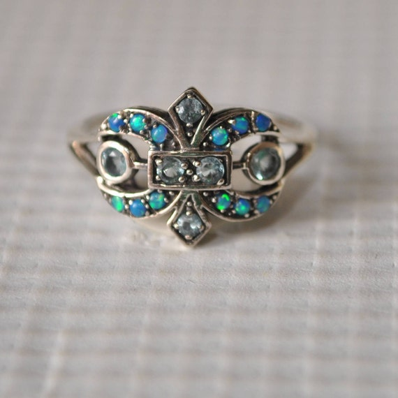 Sterling Silver Aquamarine Opal Art Deco Ring Sz 7  #9829