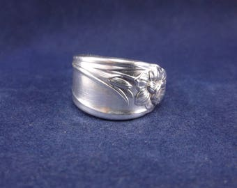"""FREE SHIPPING-Spoon Ring 1950  """"Daffodil"""" Handmade Spoon Jewelry Size 7.5"""
