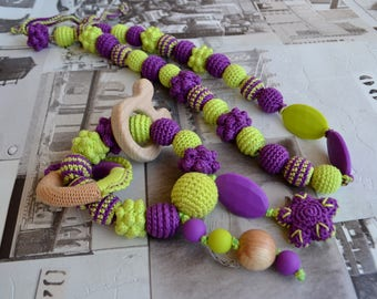 Teething toy and necklace Lime Green and Purple