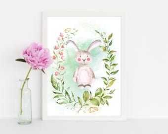 "Watercolor Bunny, wall art quote, kids room, nursery wall art,  quote print, quote art, inspirational quote, Typography, Quote, ""Print"""