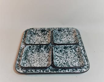 Green Speckled Enamelware Serving Tray With 4 Small Dishes, 5 Piece Set