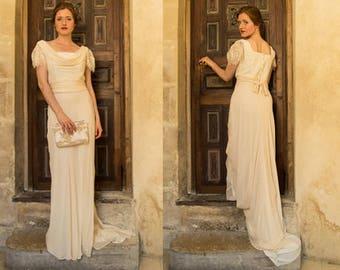 1930s wedding dress/ lace chiffon wedding dress/ vintage wedding dress/ blush pink wedding dress/cowl neck/ bias cut/ Robe de mariée vintage