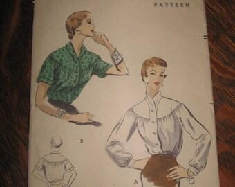 Vogue 8071 Size 14 Shawl collar blouse 1955