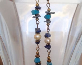 Turquoise and Lapis Lazuli Earrings with Pearls and Brass