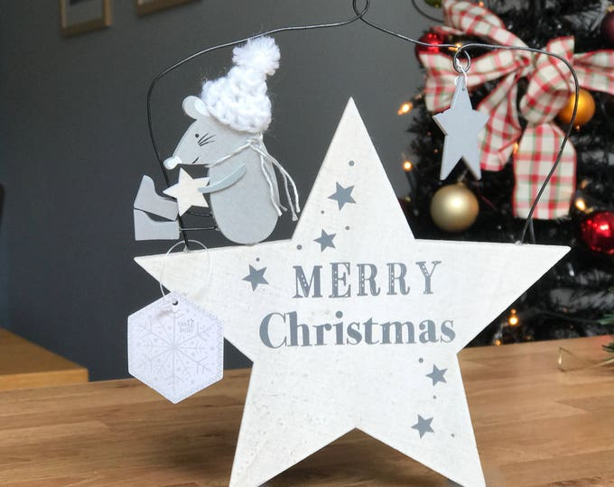 Mrs Grey the Mouse Merry Christmas Star Sign Decoration