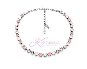 PINK FANTASY 8mm Necklace Swarovski Crystal & Pearl *Pick Your Finish *Karnas Design Studio *Free Shipping*