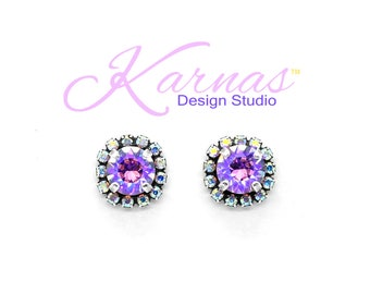 VIOLET GLACIER 8mm Crystal AB Halo Stud Earrings Swarovski Elements *Antique Silver *Karnas Design Studio™ *Free Shipping*