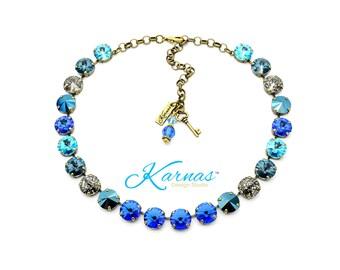 MOSAIC BLUE 12mm Full Choker Made With Swarovski Crystal *Choose your Finish *Karnas Design Studio™ *Free Shipping*