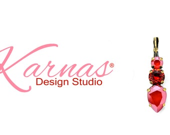 RED ALL AROUND Multi-Size Drop Leverback Earrings Made With Swarovski Crystal *Antique Brass *Karnas Design Studio *Free Shipping