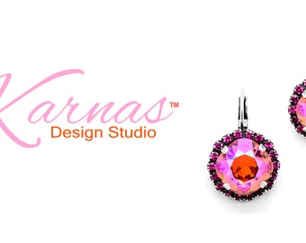 LIGHTS CAMERA ACTION 12mm Cushion Cut Halo Drop Earrings Swarovski Elements *Antique Silver *Karnas Design Studio *Free Shipping*