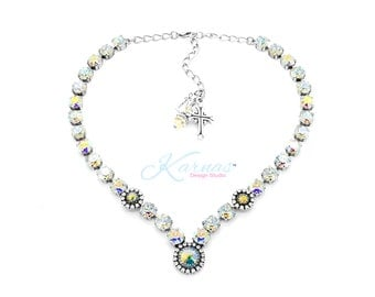 FULL OF WHIMSY 8mm V-Shaped Necklace Made With Genuine Swarovski Crystal *Choose Your Finish *Karnas Design Studio™ *Free Shipping*
