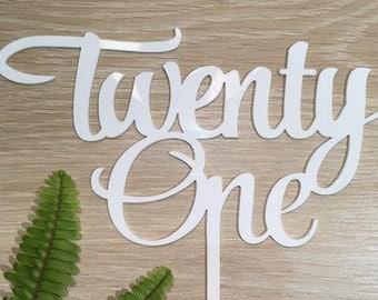 Twenty One Acrylic White Gloss 21st Birthday Cake Topper