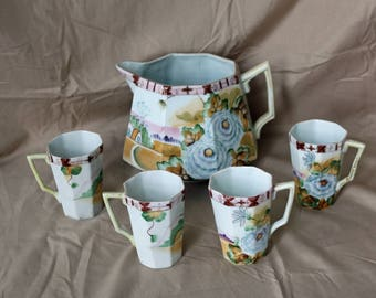Nippon Chocolate/Cider/Lemonade Pitcher and 4 Cups ~ 1910s ~ Pitcher Set ~ Hand Painted Nippon ~ Te-Oh China ~