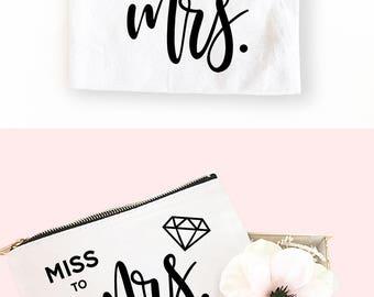 Mrs Makeup Bag  Miss to Mrs Bag Bride Make Up Bag Future Mrs Bag Bride Bag Bride Gift Bride to Be Engagement Gift for Bride (EB3222BP-WHT)