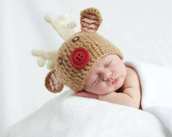 Baby Christmas Photo Prop, Holiday Newborn Outfit, Babys First Christmas, Newborn Hat, Christmas Baby Hat, Rudolph Baby Hat, Knit Baby Hat