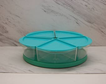vintage TURQUOISE LAZY SUSAN seafoam green plastic 11 piece appetizer serving tray condiment 5 section rotating retro kitchen decor