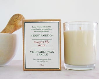 muguet lily moss natural candle   soy coconut wax with lily & oakmoss essential oils, artisan fragrance   farmhouse style rustic spa candles
