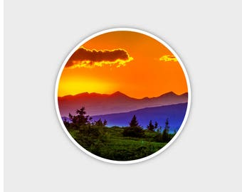 """Sunset Mountains Explore Earth Bumper Sticker Decal 4"""""""