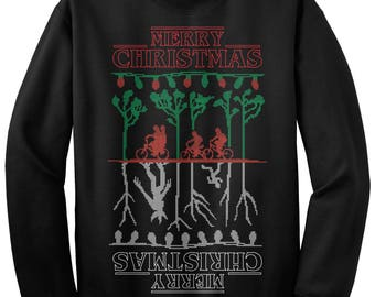 Merry Christmas The Upside Down Stranger Things Ugly Christmas Sweater Unisex Adult Crew Neck Sweatshirt
