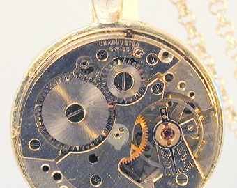 Steampunk Vintage Watch Movement Pendant with Chain OOAK #5