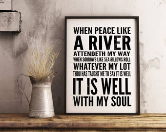 Christian artwork. It is well with my soul. Classic subway poster. Instant Download. Wall art printable. Song Hymn. When peace like a river.