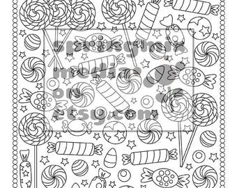 Candy coloring book | Etsy