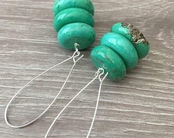 GREEN EARRINGS Green TURQUOISE Earrings Long Green Earrings Green Gemstone Earrings Tribal Earrings Green Dangle Earrings Statement Earrings