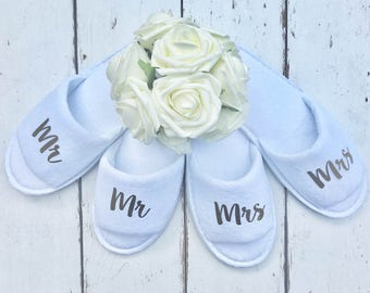 Mr and Mrs | Bridal slippers | Honeymoon | Bridal Party | Newlyweds | Wedding Slippers | Personalised Spa Slippers | Spa Slippers | Gift