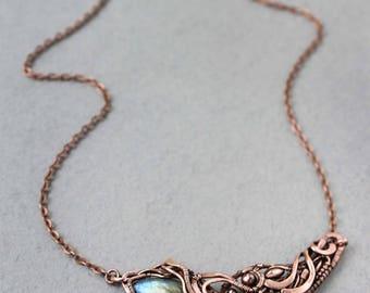 Labradorite pendant  Wire wrap necklace  Wire wrapped jewelry Handmade jewelry Copper jewelry Wirewrap pendant  Wirewrapped necklace