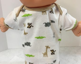 "Cabbage Patch NEWBORN 12 inch Doll Clothes, Cool ""JUNGLE ANIMALS"" Nightshirt, 12 inch Doll Clothes- Cpk Newborn Doll Nightshirt, Jungle Book"