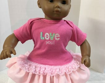 """15 inch Bitty Baby Clothes, Adorable """"I LOVE You!"""" Ruffle & Lace Trim Dress, 15 inch AG American Doll Bitty Baby or Twin Doll, Love My Doll!"""