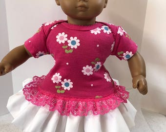 "15 inch Bitty Baby Clothes, Pretty Pink with ""White DAISY FLOWERS"" Ruffle & Lace Trim Dress, 15 inch AG Bitty Baby Doll and Twin Dolls"