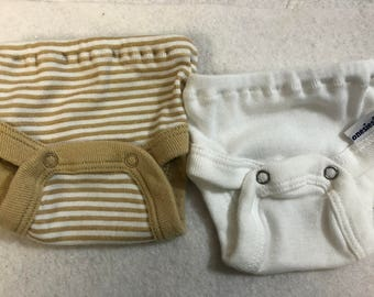 Baby Doll Diaper Covers, Panty, 15 inch AG Bitty Baby Clothes, Fits 16 inch Cabbage Patch Doll, SET of 2 for 3.00, Beige STRIPES & White