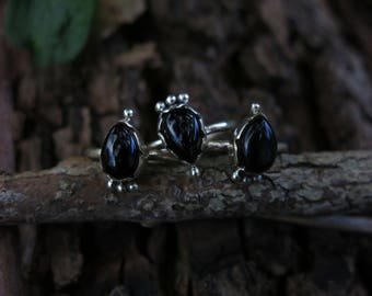 Onyx Raindrops  Sterling Silver Ring