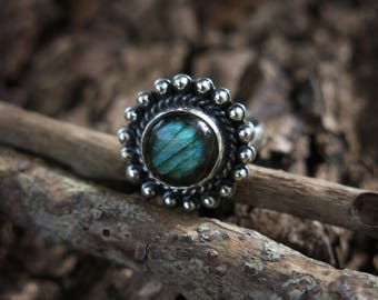 Size  5 Labradorite Orb Sterling Silver Ring