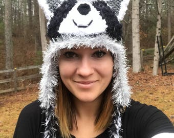 Crochet raccoon hat