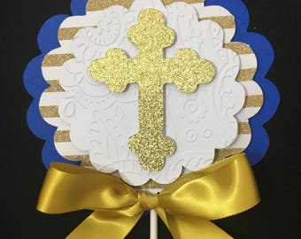Baptism centerpieces stick/ Royal blue and Gold centerpieces stick/ Royal blue and gold baptism/First communion/
