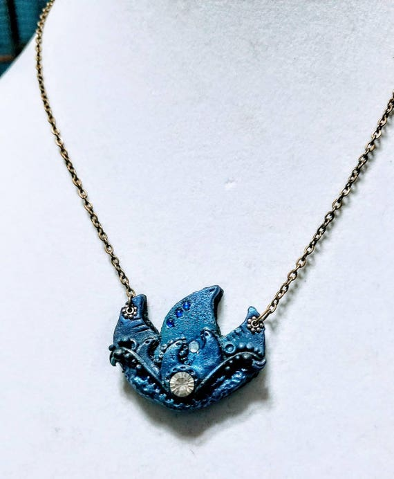 Polymer Clay Statement Necklace - Royal Blue and Purple Lotus