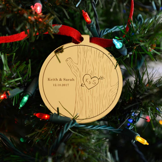 Personalized Mirror Ornament - Gold or Silver Acrylic - Couple Gift - Stocking Stuffer - Holiday Gift for Newlyweds - Mr. Mrs. Wedding Gift