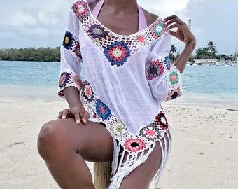 Multicolor crochet versatile beach summer top shirt