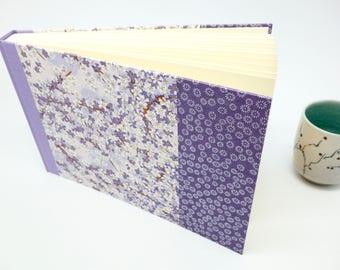 Album photo bébé/livre d'or en papier japonais mauve - naissance, baptême, grossesse - idée cadeau bébé fille, photo, violet, prune, pastel